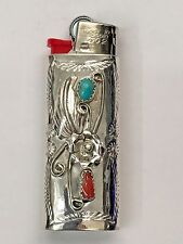 Sterling Silver Navajo Handmade Turquoise and Coral Mini Bic Lighter Case/Cover
