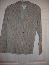 Talbots blouse size 12P 12 Petite LS EUC button black and white stripe