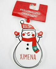"XIMENA Personalized Name Holiday Ornament Snowman Xmas Target Ganz 3.5"" Ceramic"