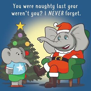 Merry Christmas Card with Elephant Santa - Xmas Card -Funny Christmas Card
