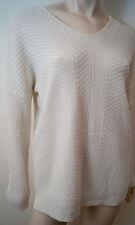 VINCE Crème Laine & Cachemire Texturé Knitwear V Col Pull Sweater Top Sz: S