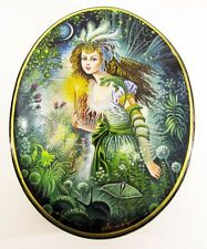 "Russian Lacquer box style Fedoskino ""Forest fairy"" Hand Painted Jewelry #1"