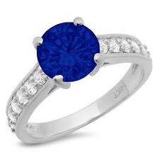 2.25ct Round Blue Sapphire Promise Bridal Wedding Designer Ring 14k White Gold