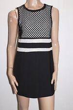 BLOSSOM Designer Black Mesh Lace Insert Shift Dress Size 10-S BNWT #SN25
