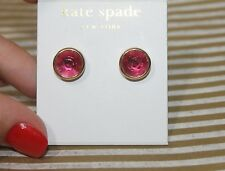 NWT KATE SPADE NEW YORK CIRCULAR GOLD FILLED PINK CRYSTAL STUD EARRINGS