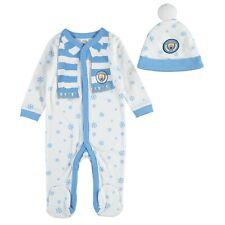 Manchester City Baby's XMAS Sleepsuit & Hat Set - Blue/White - New