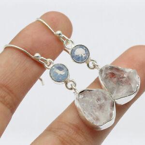 """Rough Herkimer Diamond 925 Silver Plated Handmade  Earrings of 1.7"""" Ethnic Gift"""
