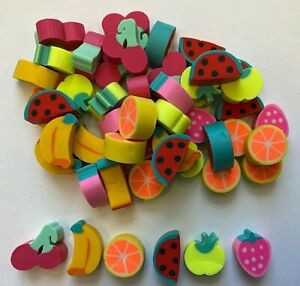 50 Mini Fruit Shaped Erasers Teacher Supply Sorting Math Counters cherries berry