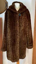 Furnatic Faux Fur Brown Animal Print Jacket /Coat Size 18 Beautiful dark brown