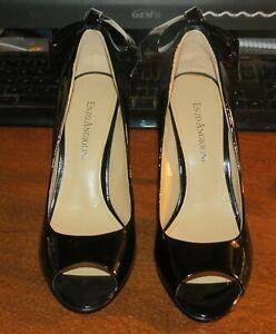 Enzo Angiolini Black Peep Toe Heels Bow Back Patent Leather Mistle Size 6M NWOB!