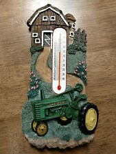 3D John Deere Farm Scene Hanging Thermometer Brown Barn Tractor Country Decor