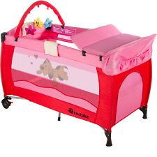 Lit bébé pliant avec accessoires lit de voyage rose réglable