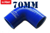 "4PLY Silicone 90 Degree Elbow Connector Joiner Turbo Hose 70mm 2.75"" 2-3/4"" Blue"