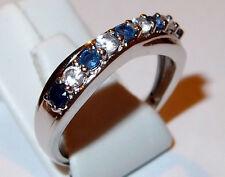 Kanchanaburi Sapphire & Zircon ring in platinum overlay Sterling Silver, Size P.