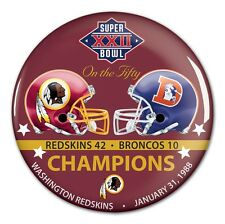 WASHINGTON REDSKINS DENVER BRONCOS SUPER BOWL XXII CHAMPS ON THE FIFTY BUTTON