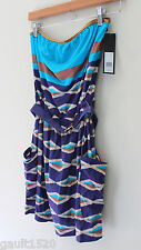 NWT Marc by Marc Jacobs Sexy Strapless Belted Swim Cover Up Violet Dress M $186