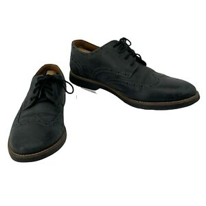 Clarks Dress Shoes Men's Size 12 M Dark Gray Leather Wingtip Oxford Business