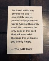 Cards Against Humanity- Bonus Official Procedurally Generated Card Only One Ever