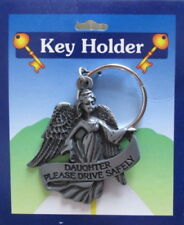 DAUGHTER NEVER DRIVE FASTER THAT YOUR GUARDIAN ANGEL CAN FLY PEWTER KEYRING