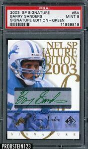 2003 UD SP Signature Edition Barry Sanders Lions HOF Green Ink AUTO 8/50 PSA 9