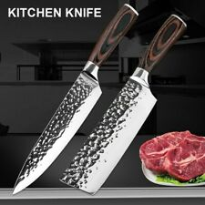 2 PCS Stainless Steel Kitchen Knives Set Japanese Damascus Style Chef's Cleaver