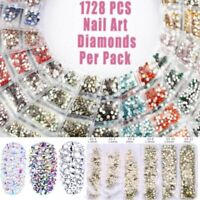 1728 Pcs Rhinestones 3D Crystal Stones Gems DIY Nail Art Decoration Fashion