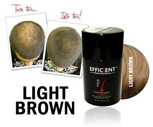 EFFICIENT Hair Building Fiber 12g LIGHT BROWN for Thinning Hair, Bald Spots