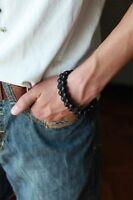MENS Matte Black Onyx Gemstones 2-Row Beaded Shambhala Silver Jewelry Bracelet