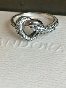 Sterling Silver Knotted Heart Ring S925 ALE Pandora + Pandora Gift Pouch Size 58