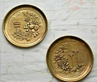 """Set of 2 Vintage Round Brass Wall Hangings & Floral Mid Century Decor 9""""Diameter"""
