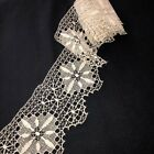 Beautiful Antique Handmade Drawnwork Lace Trim 4.5'wide by 4 Yards Fine Needle