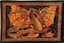 Indian Dragon Fly Small Poster Tapestry Wall Hanging Throw Orange Cotton Hippie