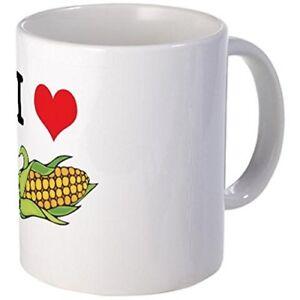 11oz mug I Heart (Love) Corn (On the Cob) - Printed Ceramic Coffee Tea Cup Gift