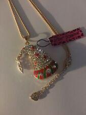 Betsey Johnson Shining Crystal Enamel Christmas HAT  WITH DANGLE Necklace-BJ6245
