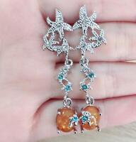 Fashion Starfish Womne Silver Fire Opal Gem Wedding Proposal Hoop Stud Earrings