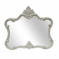 French Style Shabby Chic Antiqued Pale Stone Grey Ornate Overmantle Mirror