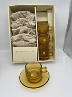 MCM Set Of 5 Soga Amber Color  Glass Cups & Saucers
