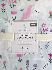 POTTERY BARN KIDS Mystical Unicorn Organic TWIN Duvet & Sheets  - 4 pc Set NEW