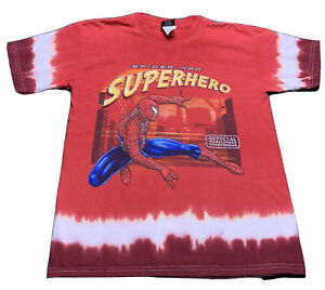 RARE Spiderman 1 & 2 Movie T-Shirt 2003 2004 Youth Large Red Marvel Texture LOT