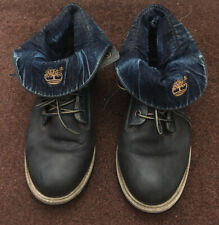 Timberland Roll Top Boots Blue Leather / Denim Ladies Size Uk 6