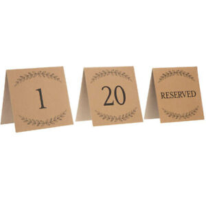 Brown Kraft Table Number Cards Wedding Reception 24 Count