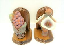 Used Wood Fake Fruit Faux Flowers Floral Stained Bookends Decorative Book Ends