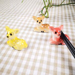 1Pc Ceramic Cute Sika Deer Chopstick Rest Spoon Fork Rack Stand Pen Holder Decor
