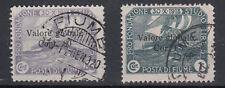 FIUME 1919 FONDAZIONE SOVRASTAMPATI VALORE GLOBALE USATI SASSONE N. 94 - 95