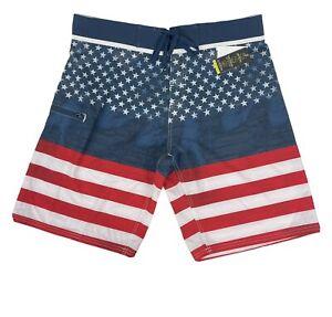 Burnside Men's Board Shorts Size 36 NWT US Flag Quick Dry Stretch Swim Trunks