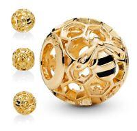 Genuine Pandora Gold Honey Bee Honeycomb Gold Charm 767023EN16 ALE S925 PC197