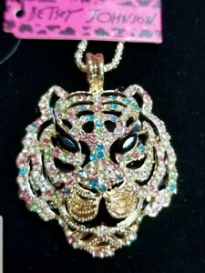 Betsey Johnson Crystal Rhinestone Tiger Head Pendant Sweater Chain Necklace Gift