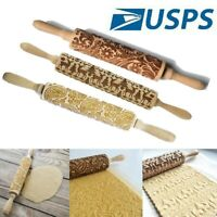 Christmas Wooden Rolling Pin Carved Embossing Pin Pattern Gift Kitchen Tool