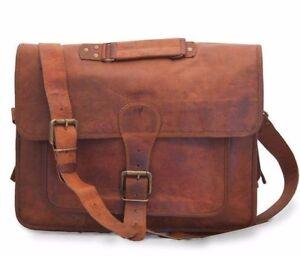 S to XL Vintage Leather Brown Messenger Shoulder Laptop Bag Briefcase Satchel