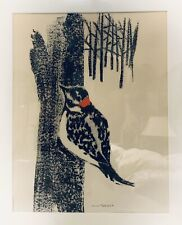 Modernist Lithograph Woodpecker Print by Anna Tefft Siok, Hand-Signed & Framed